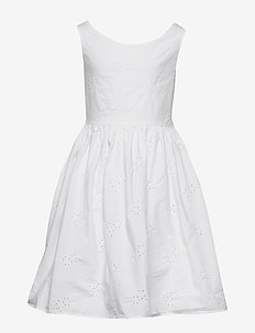 D2. BRODERIE ANGLAISE DRESS - dresses - white