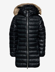 D1. LONG FAUX FUR PUFFER JACKET - puffer & padded - black