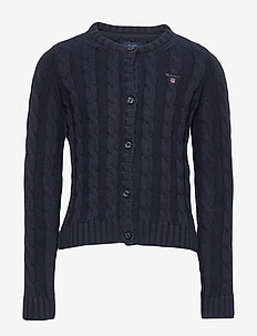 COTTON CABLE CARDIGAN - EVENING BLUE