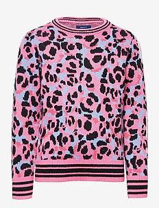 D1. GANT LEOPARD JAQUARD CREW - neuleet - sea pink