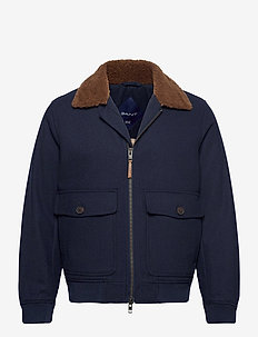 D2. WOOL FLIGHT JACKET - uldjakker - marine