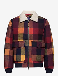 D2. WOOL CHECK FLIGHT JACKET - wool jackets - port red