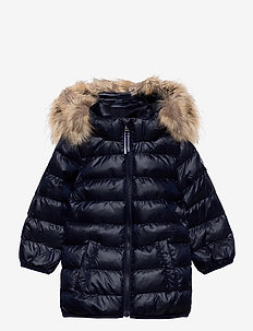 D1. GANT FAUX FUR PUFFER JACKET - dunjakker & forede jakker - evening blue