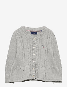 D1. COTTON CABLE CARDIGAN - gebreide vesten - light grey melange