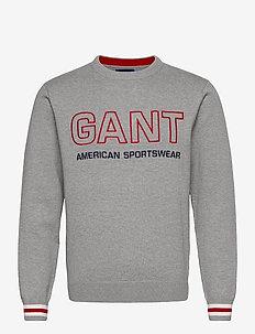 D1. GANT LOGO CREW - knitted round necks - grey melange