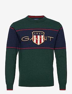 D2. ARCHIVE SHIELD C-NECK - knitted round necks - tartan green