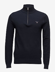 COTTON PIQUE HALF ZIP - EVENING BLUE