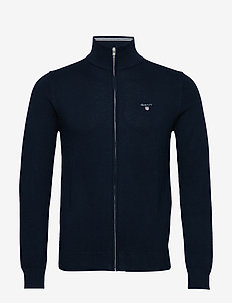 COTTON PIQUE ZIP CARDIGAN - EVENING BLUE
