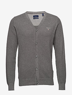 COTTON PIQUE CARDIGAN - DARK GREY MELANGE