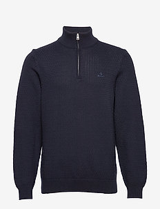 D1. HONEYCOMB HALF ZIP - truien met halve rits - evening blue