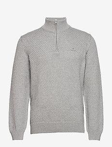 D1. HONEYCOMB HALF ZIP - half zip jumpers - grey melange