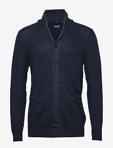 D1. HONEYCOMB SHAWL CARDIGAN - podstawowa odzież z dzianiny - evening blue