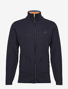 D1. DOUBLE FACED FULL ZIP CARDIGAN - basic knitwear - evening blue