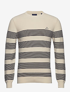 D1. STRIPED RIBBED C-NECK - CREAM