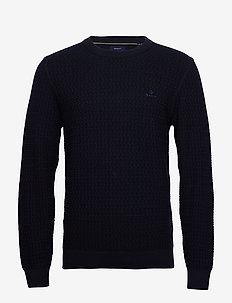 D1. COTTON TEXTURE CREW - basic gebreide truien - evening blue