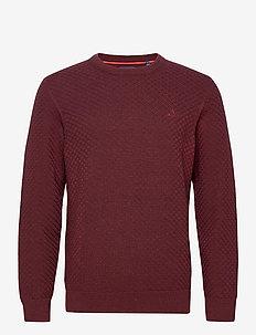 D1. COTTON TEXTURE CREW - basic knitwear - dk. burgundy mel
