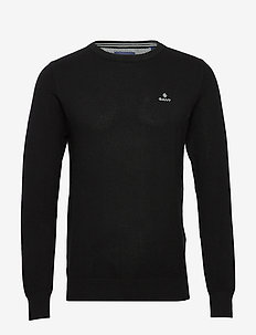 COTTON PIQUE C-NECK - BLACK
