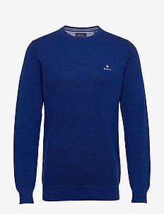 COTTON PIQUE C-NECK - round necks - crisp blue