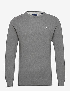 COTTON PIQUE C-NECK - rund hals - dark grey melange