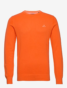 COTTON PIQUE C-NECK - rundhalsad - sunny orange