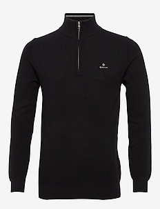 COTTON PIQUE HALF ZIP - half zip - black