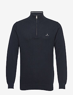 COTTON PIQUE HALF ZIP - truien met halve rits - evening blue