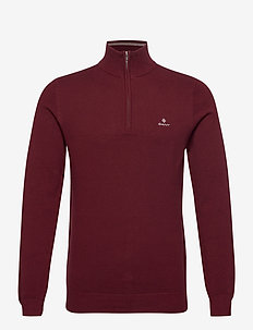 COTTON PIQUE HALF ZIP - half zip jumpers - port red