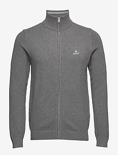 COTTON PIQUE ZIP CARDIGAN - basic knitwear - dark grey melange