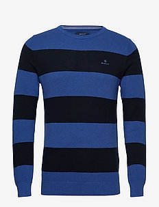 COTTON PIQUE BARSTRIPE CREW - rundhals - royal blue mel