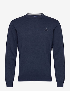 CLASSIC COTTON C-NECK - basic gebreide truien - dark jeansblue melange
