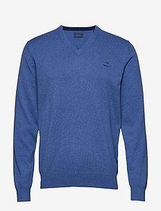 CLASSIC COTTON V-NECK - swetry w serek - blue melange