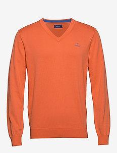 CLASSIC COTTON V-NECK - v-ringat - coral orange