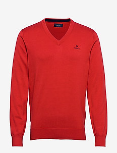 CLASSIC COTTON V-NECK - pulls col v - fiery red