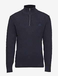 D1. WHEAT TEXTURE HALF ZIP - EVENING BLUE
