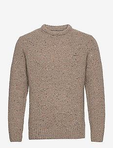 D2. NEPS CREW - knitted round necks - dk. sand melange