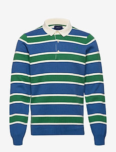D1. KNITTED STRIPED RUGGER - long-sleeved - bright cobalt
