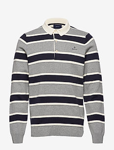 D1. KNITTED STRIPED RUGGER - polos à manches longues - grey melange