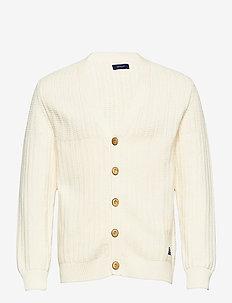 D1. MULTI STITCH RIB CARDIGAN - podstawowa odzież z dzianiny - cream
