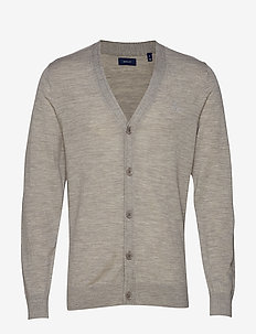 O1. WASHABLE MERINO CARDIGAN - GREY MELANGE