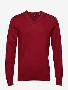 O2. COTTON CASHMERE V-NECK - MAHOGNY RED
