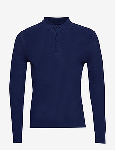 O2. COTTON CASHMERE TEXTURED POLO - PERSIAN BLUE