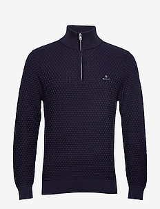 D1. SIGNATURE WEAVE HALF ZIP - EVENING BLUE