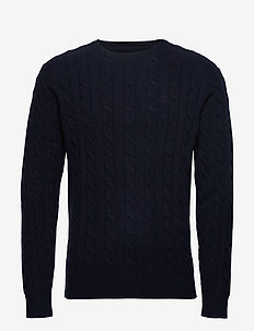 D2. LAMBSWOOL CABLE CREW - knitted round necks - evening blue