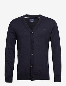 D1. COTTON SILK V-CARDIGAN - podstawowa odzież z dzianiny - evening blue