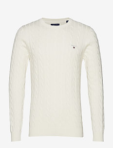 COTTON CABLE CREW - basic knitwear - cream
