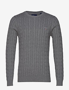 COTTON CABLE CREW - basic knitwear - dark grey melange