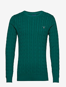 COTTON CABLE CREW - basic knitwear - ivy green