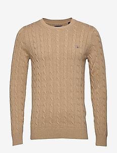 COTTON CABLE CREW - basic knitwear - khaki mel