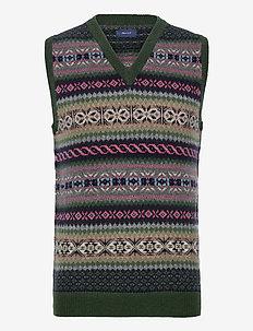D2. FAIR ISLE SLIPOVER - knitted v-necks - tartan green