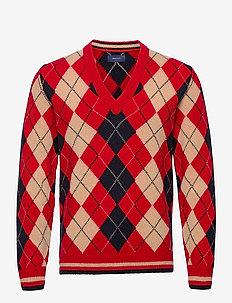 D1. ARGYLE V-NECK - knitted v-necks - red
